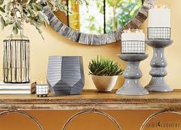 super cute gray candle stands and gray scent pod warmer gold