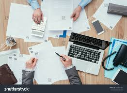 business people working office desk they stock photo 440308192