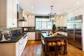 Dark Floors Light Cabinets Light Cabinets Dark Floors Kitchen Contemporary With Drum Pendant