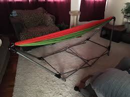 gear guide folding hammock stand with parachute hammock