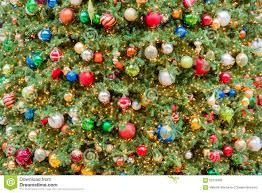 big christmas tree lights and decorations stock photo image