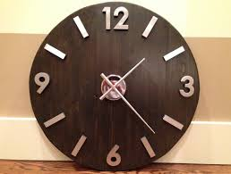 large industrial wood and metal wall clock with modern