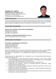 Sample Resume For Ojt Mechanical by Sample Resume For Electrical Engineer In Philippines Resume
