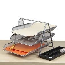 Paper Desk Organizer Mind Reader 3 Tier Steel Mesh Paper Tray Desk Organizer Reviews