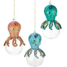 siena department 56 octopus glass ornament set of 3