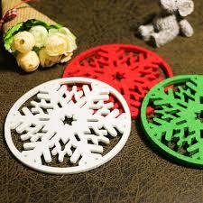 20pcs lot hollow snowflake felt coasters glass mat dinning table