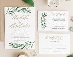 wedding invitations greenery wedding invitations etsy