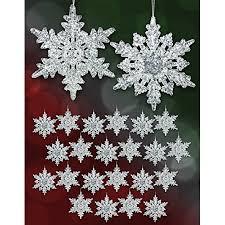acrylic iridescent snowflake christmas ornaments winter wedding