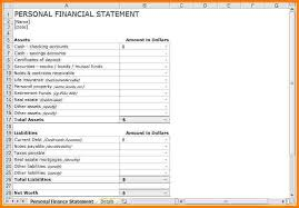 Personal Financial Statement Excel Template Personal Financial Statement Exles Templatefinancial