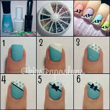 nail art how to pastel french polka dotted bow nails using essie