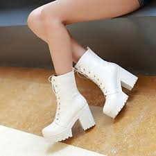 womens white boots nz s shoes nz leatherette chunky heel heels fashion boots