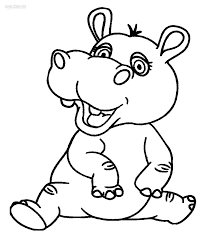 baby hippo coloring pages hippo smiling cartoon animals coloring