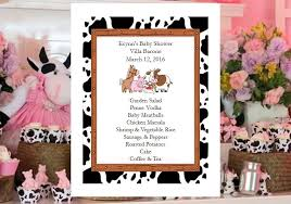 farm animals barnyard baby shower invitations cow border pavia