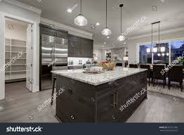 modern open plan kitchen modern open plan gray kitchen features stock photo 557517382
