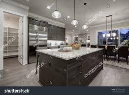 modern open plan gray kitchen features stock photo 557517382