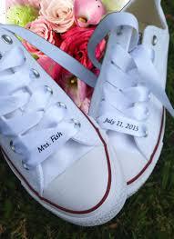 custom wedding converse ribbon laces satin white personalized