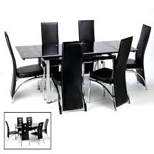 Glass Extendable Dining Table And 6 Chairs Black Dining Sets Elkar Club