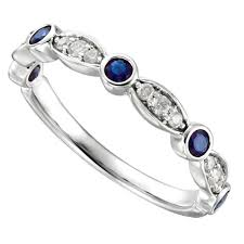 Diamond Wedding Rings For Women by Vintage Inspired Sapphire U0026 Diamond Wedding Band Art Deco Style
