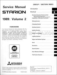 1989 mitsubishi starion repair shop manual original 2 vol set