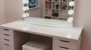 Bedroom Vanity Table With Drawers Bedroom Lighted Mirron On White Wooden Makeup Vanity Table