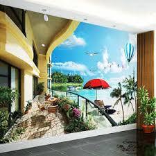 seaside balcony ocean view full wall mural large print decal