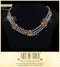 jewellery pearl necklace images Pearl necklace with gold motifs art of gold jewellery coimbatore jpg