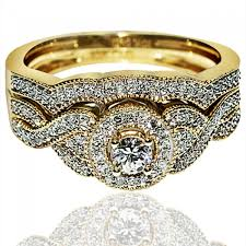 gold bridal set gold wedding ring set 2 halo 0 4ct sculpture inspired