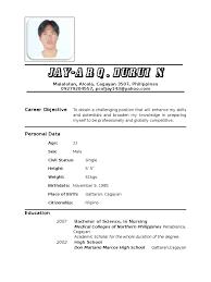 example resume letter for application 7 image of filipino resume hvac resumed resume 1 examples of resume nurse resume letter tagalog