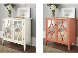 accent sideboard buffet storage cabinet 2 mirrored doors coral