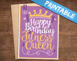 happy birthday fitness queen printable greeting card print