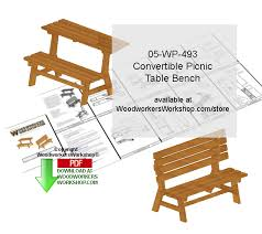 Build A Folding Picnic Table by 05 Wp 493 Convertible Picnic Table Bench Scrollsaw Woodcrafting