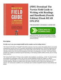the norton field guide to pdf download the norton field guide to writing with readings and