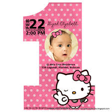 Birthday Invitation Cards For Kids First Birthday Astounding Hello Kitty Invitation Card 13 On 1st Birthday Party