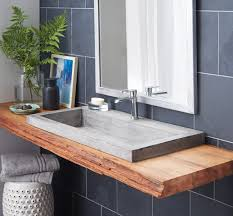 gray concrete floating trough sink combined varnished wooden teak