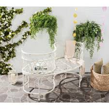 Outside Benches Home Depot by Safavieh Lara Kissing 44 In 2 Person Antique White Metal Outdoor