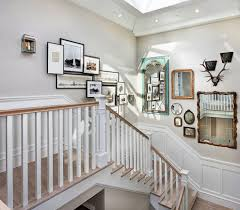 staircase wall decor stairway picture frame layout living room traditional with wall