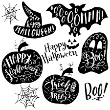 happy halloween clip art black and white halloween clip art graphics hand lettering photo overlays