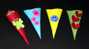 fun paper crafts for kids paper cone toffee case very simple