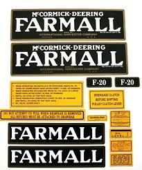 mylar decal set farmall f 20 decals and emblems farmall