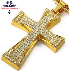 aliexpress cross necklace images Big fat original jesus long chain hip hop iced out 18k gold jpg