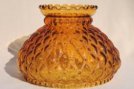 Vintage Yellow Glass Vase Vintage Amber Glass Lamp Shade Quilted Diamond Quilt Pattern
