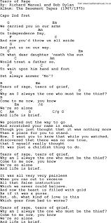 The Basement Lyrics Bob Dylan Song Tears Of Rage Lyrics And Chords