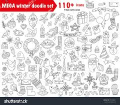 Stylish Design Winter Doodles Collection Stylish Design Icon Stock Vector