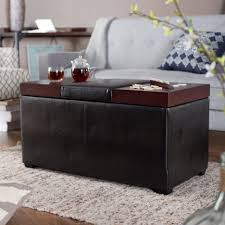 Gray Leather Ottoman Black Leather Ottoman Coffee Table With Brown Wooden Tray