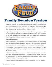 family reunion family feud printable family picnic