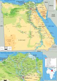 Africa Physical Map Large Physical Map Of Egypt With Roads Cities And Airports