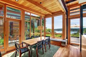 beautiful house of wood stone and steel on bainbridge island