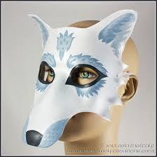 Mardi Gras Halloween Costume Winter White Wolf Handmade Leather Masquerade Mask Halloween
