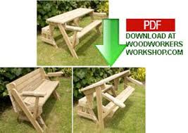 Free Plans For Round Wood Picnic Table by Folding Bench And Picnic Table Combo Pdf Woodworking Plan Pdf