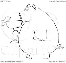 cartoon margarita cartoon of a black and white pig holding a margarita royalty